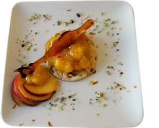 crumble pesche pistacchio