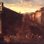 anonimo, veduta di piazza ferraria o nuova,, XVII sec., coll. pr.