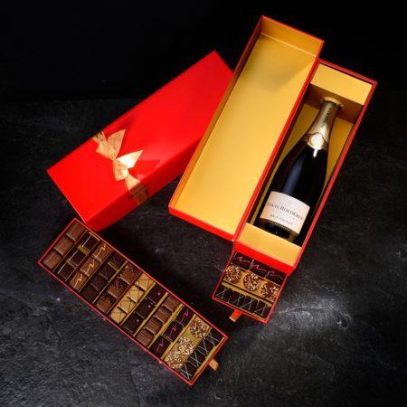 Confezione cioccolatini e Champagne