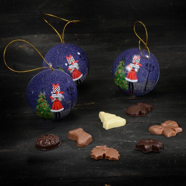 Palline di Natale con fantasie di cioccolato