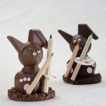 Coniglietto di cioccolato pittore